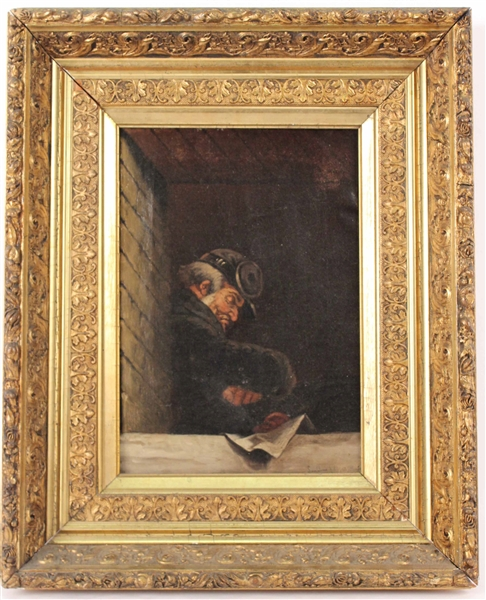 Oil on Canvas, Man Reading a Paper
