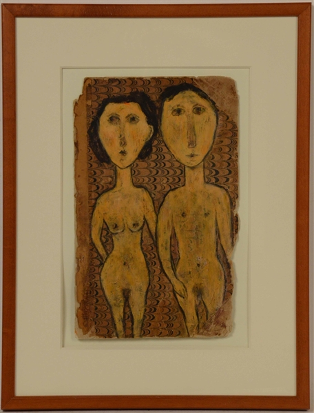 Oil on Bookcover, Nude Man and Woman, Harriet Wiseman