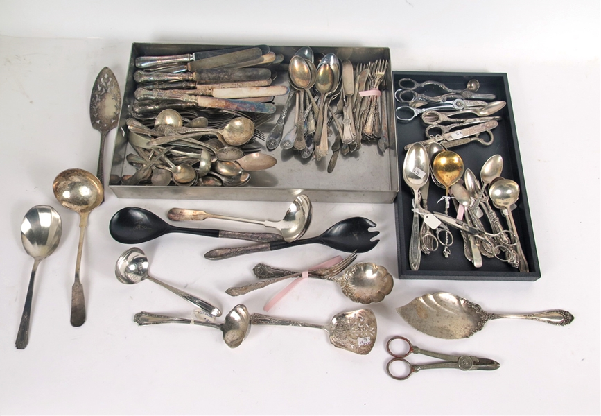 Two Trays of Silver Plated Flatware Items