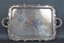 Large Double Handled Silver Plated Tray