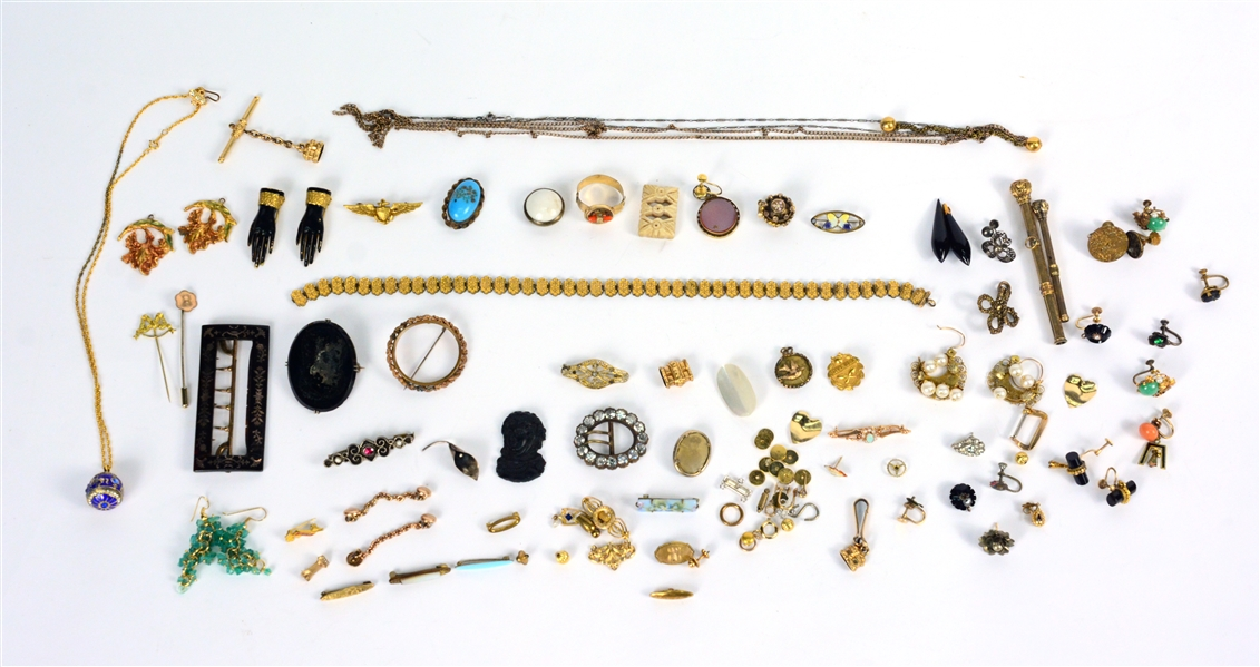 Group of Gold Tone Jewelry Items