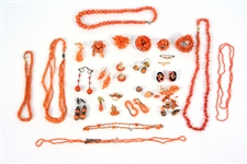 Group of Coral Jewelry Items