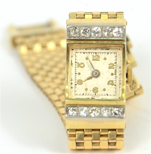 14K Yellow Gold Diamond Ladies Wristwatch