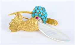 18K Yellow Gold and Stone Toucan Brooch
