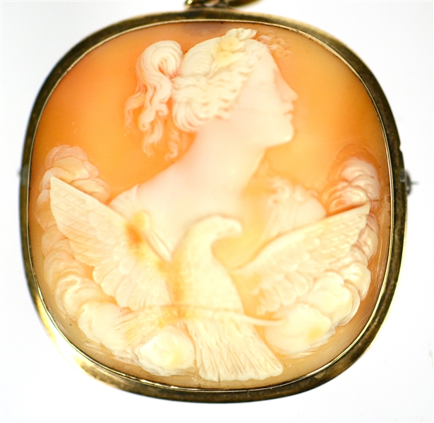14K Yellow Gold Carved Shell Cameo Pendant/Brooch