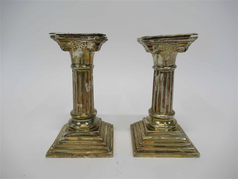 Pair of Columnar Plated Candlesticks