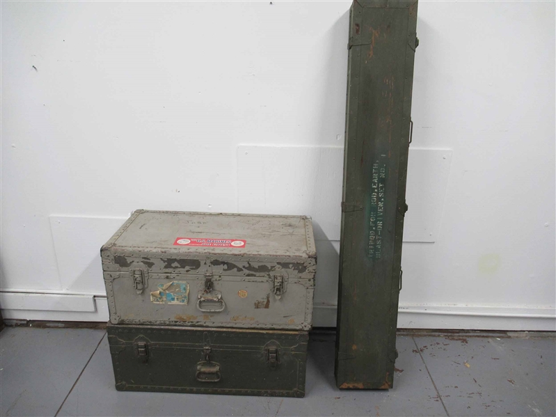 2 Military Shipping Trunks