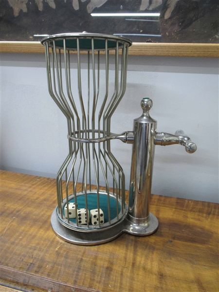 Silver Plate Chuck-A-Luck Cage with 3 Dice