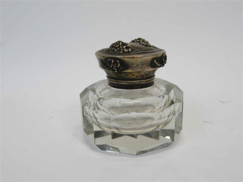 Art Nouveau Ink Well With Sterling Silver Lid