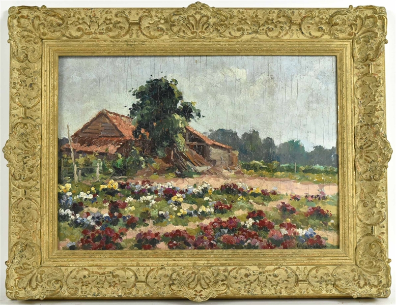 Oil on Board, House with Flowers, Victor Wagemaekers