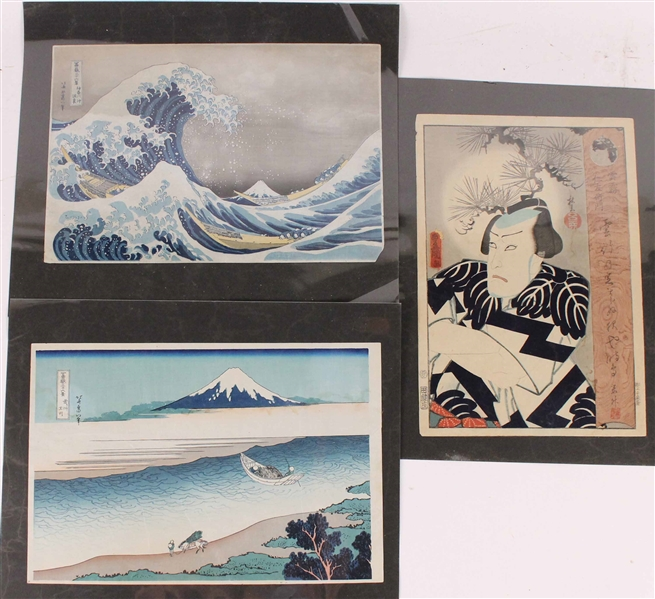 Three Color Japanese Woodblock Prints