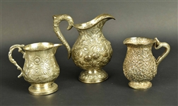 Group of Three Indian Silver Pitchers