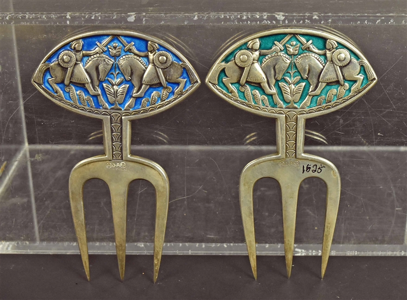 David Andersen Silver & Enamel Serving Forks