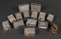 Fourteen Chinese Export Silver Match Box Safes