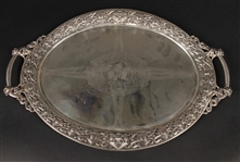 Moller Norwegian Silver Double Handled Oval Tray, c. 1910