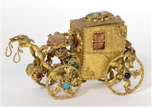 Gilt Metal & Gemstone Decorated Carriage Bank