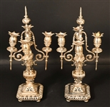 Pair of Silver Plated Four Arm Candelabra