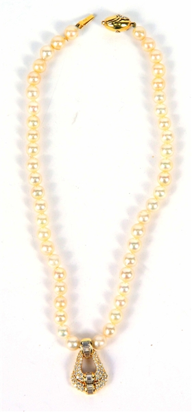 18K Yellow Gold 9MM Pearl & Diamond Necklace