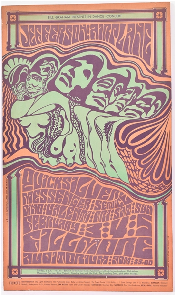 Print on Masonite, Wes Wilson Concert Poster