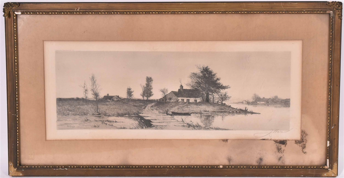Print of Houses on River, E.L. Field
