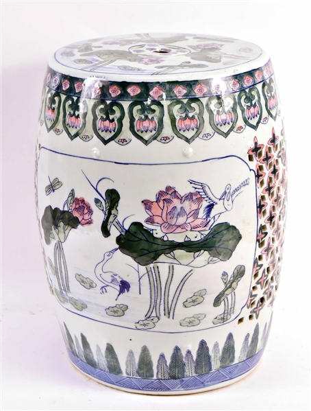 Chinese Floral-Decorated Porcelain Garden Seat