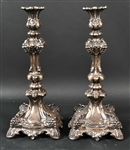 Pair of 19th C Russian Silver Candlesticks