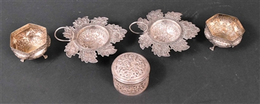 Group of Indian Silver Small Table Articles