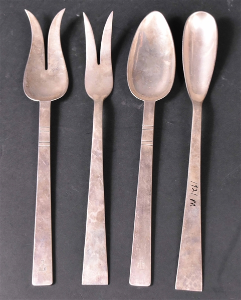 Pair of Silver Pastry Servers and Salad Servers
