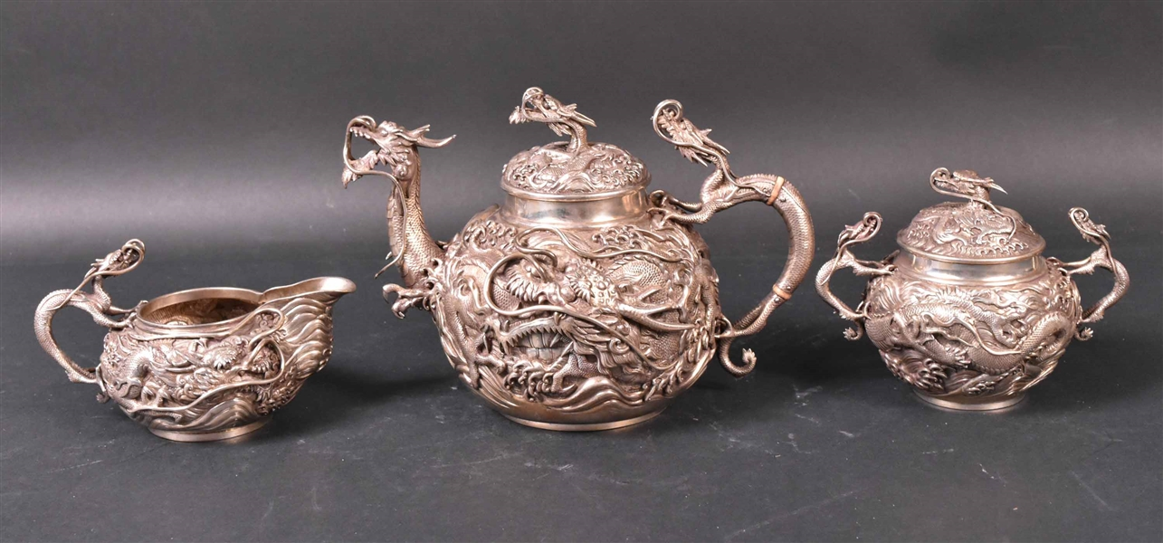 Japanese Silver Three-Piece Tea Set