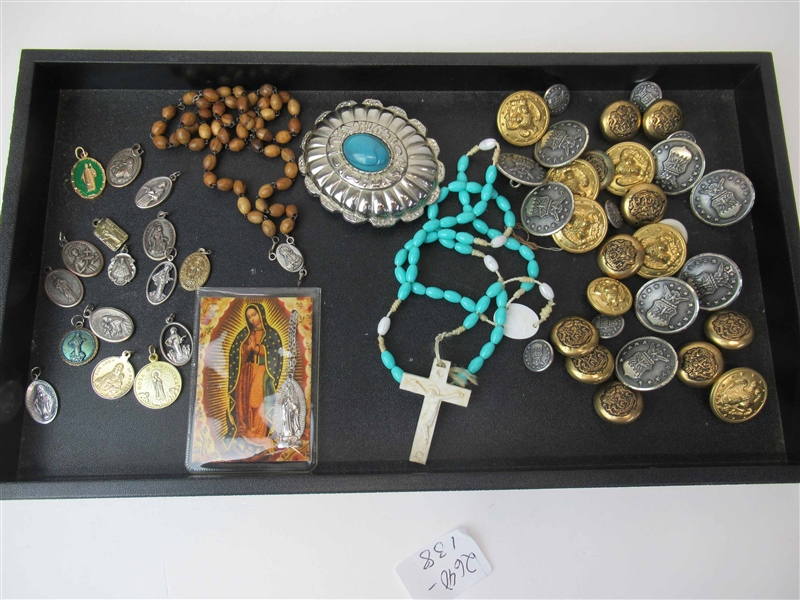 Group of Assorted Buttons and Religious Articles