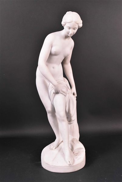 Neoclassical Stone Partial Nude Female Figure