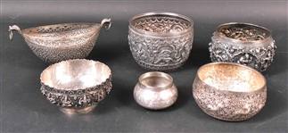 Group of Six Burmese & Indian Silver Bowls