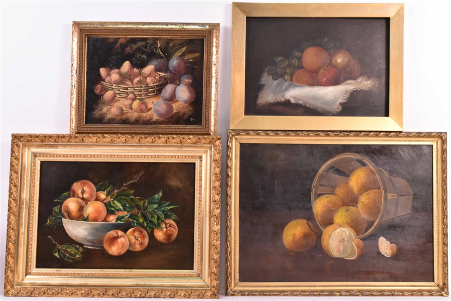 Four Fruit Still Life Paintings
