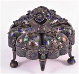 Indian Silver Enameled & Jeweled Spice Box