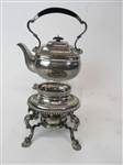 English Silver Kettle on Stand With Burner