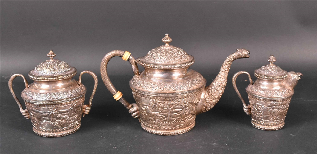 Pakistani Silver Three Piece Tea Service