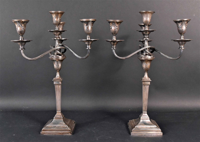 Pair of English Sterling Four-light Candlebra