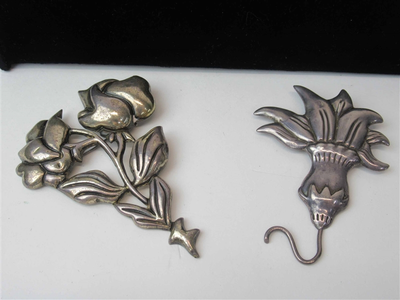 Two Mexican Sterling Silver Floral Brooches