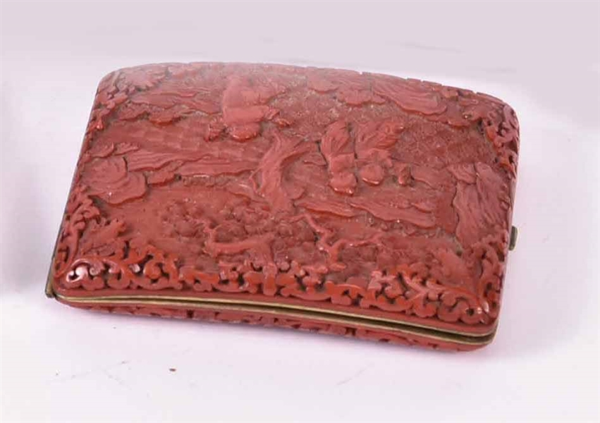Chinese Cinnabar Curved Cheroot Case