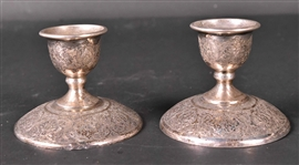 Pair of Persian Silver Candlesticks