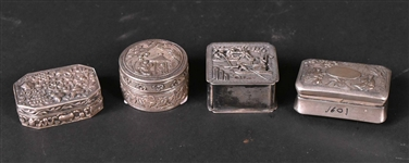 Four Chinese Export Silver Small Boxes