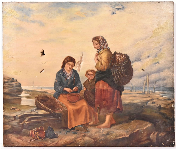 Oil on Canvas, Three Women Harvesting Mussels