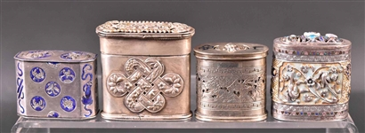 Four Chinese Export Silver Opium Boxes
