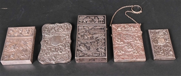 Five Chinese Export Silver Hinged Cases