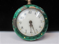 Marked 800 Enamel Decorated Pocket Watch