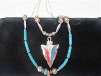 Native American Style Silver Turquoise Necklace