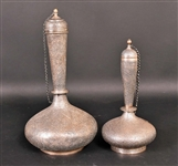 Two Similar Indian Silver Bottles