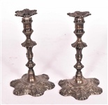 Pair George I English Silver Tapersticks, London