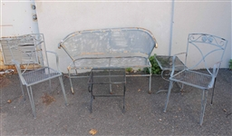 Group of Patinated Metal Garden Furniture