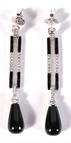 Pair of Platinum Diamond & Onyx Earrings